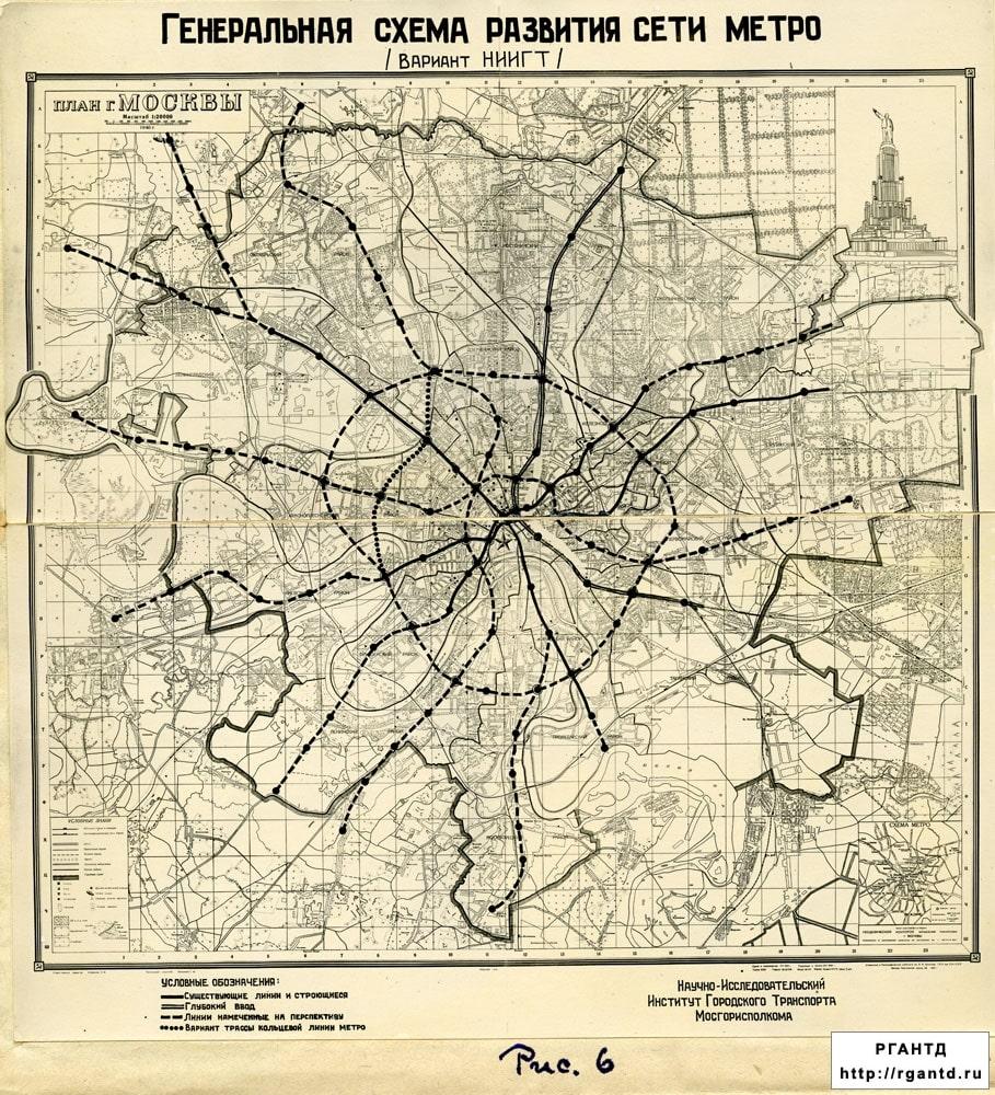 Схема метро Москвы сороковых годов